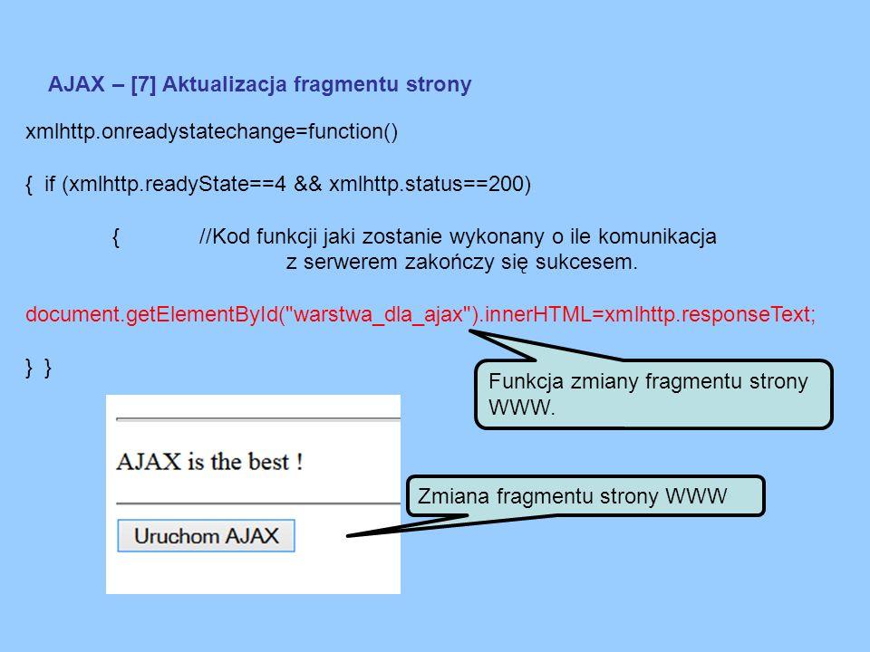AJAX – [7] Aktualizacja fragmentu strony